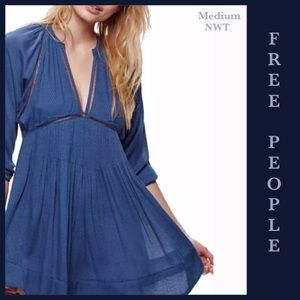 FREE PEOPLE BOHO Go Lightly Deep V-Neck Blue DRESS
